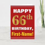 [ Thumbnail: Bold, Red, Faux Gold 66th Birthday W/ Name Card ]