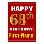 [ Thumbnail: Bold, Red, Faux Gold 68th Birthday W/ Name Card ]