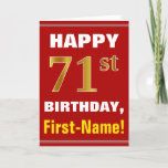 [ Thumbnail: Bold, Red, Faux Gold 71st Birthday W/ Name Card ]