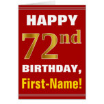 [ Thumbnail: Bold, Red, Faux Gold 72nd Birthday W/ Name Card ]