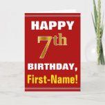 [ Thumbnail: Bold, Red, Faux Gold 7th Birthday W/ Name Card ]