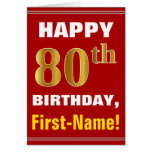 [ Thumbnail: Bold, Red, Faux Gold 80th Birthday W/ Name Card ]
