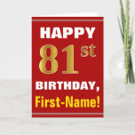 [ Thumbnail: Bold, Red, Faux Gold 81st Birthday W/ Name Card ]