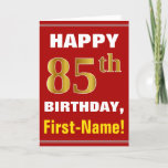 [ Thumbnail: Bold, Red, Faux Gold 85th Birthday W/ Name Card ]