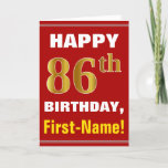 [ Thumbnail: Bold, Red, Faux Gold 86th Birthday W/ Name Card ]