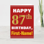 [ Thumbnail: Bold, Red, Faux Gold 87th Birthday W/ Name Card ]
