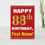 [ Thumbnail: Bold, Red, Faux Gold 88th Birthday W/ Name Card ]