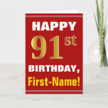 [ Thumbnail: Bold, Red, Faux Gold 91st Birthday W/ Name Card ]