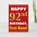 [ Thumbnail: Bold, Red, Faux Gold 92nd Birthday W/ Name Card ]