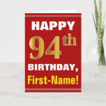 [ Thumbnail: Bold, Red, Faux Gold 94th Birthday W/ Name Card ]