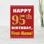 [ Thumbnail: Bold, Red, Faux Gold 95th Birthday W/ Name Card ]