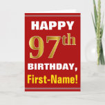 [ Thumbnail: Bold, Red, Faux Gold 97th Birthday W/ Name Card ]