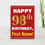 [ Thumbnail: Bold, Red, Faux Gold 98th Birthday W/ Name Card ]