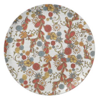 Bold Red Flowers Vines Plates