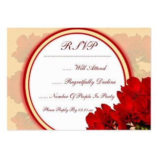 Bold Red Flowers Wedding Large Business Cards (Pack Of 100)