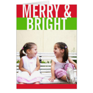 Bold red green color stripe modern holiday photo card