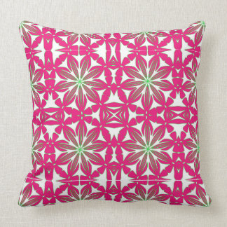 Bold Red Green White Pattern Throw Pillow