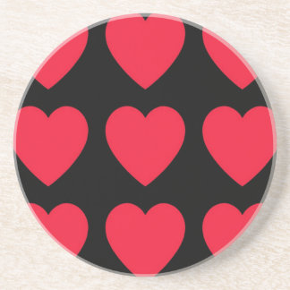 Bold Red Hearts x 9 Beverage Coaster