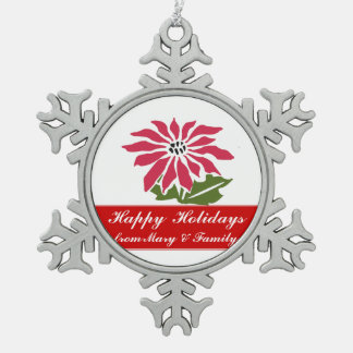 Bold Red Holiday Poinsettia Flower Snowflake Pewter Christmas Ornament