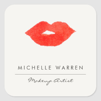 Bold Red Lips Watercolor Makeup Artist Square Sticker