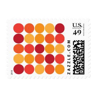 Bold Red Orange Big Polka Dots Circles Pattern Postage