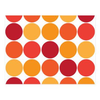 Bold Red Orange Big Polka Dots Circles Pattern Postcard