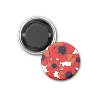 Bold Red Orange Poppies 1 Inch Round Magnet