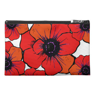 Bold Red Orange Poppies Travel Accessory Bags