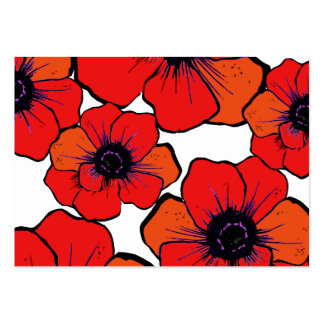 Bold Red Orange Poppies Large Business Cards (Pack Of 100)