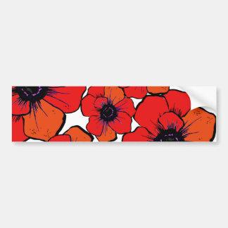 Bold Red Orange Poppies Car Bumper Sticker