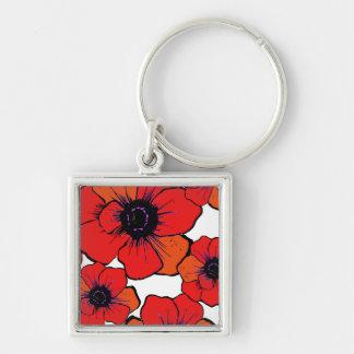 Bold Red Orange Poppies Keychain