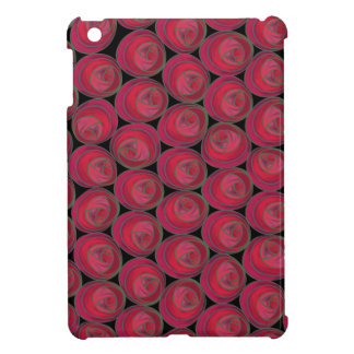 Bold Red Pink and Green Art Nouveau Roses iPad Mini Cases