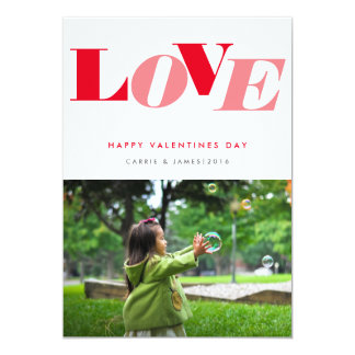 Bold Red Pink Love Typography Valentines Day Photo 5x7 Paper Invitation Card