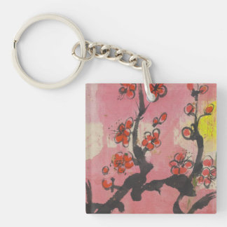 Bold Red Plum Blossoms Sakura Mirror Single-Sided Square Acrylic Keychain