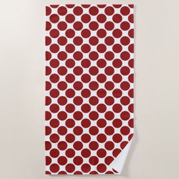 Beach Themed Bold Red Polka Dots on White Beach Towel