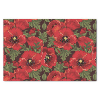 BOLD Red Poppies and Ladybug Modern Floral Pattern Tissue Paper