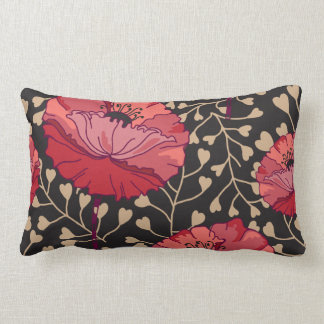 Bold Red Poppy Floral Flower Print Pillow