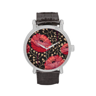 Bold Red Poppy Floral Flower Print Watch