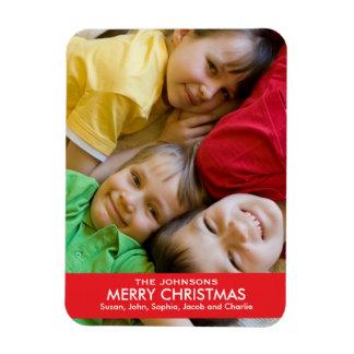 Bold Red Ribbon Christmas Rectangular Photo Magnet