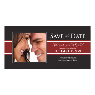 Bold Red Stripe Save the Date Announcement Photo Card