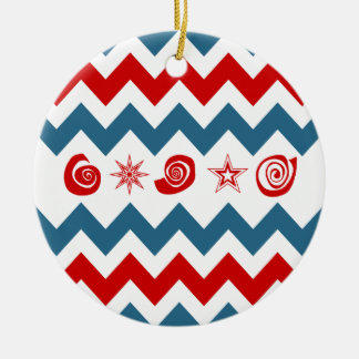 Bold Red White Blue Chevrons with Swirls and Stars Ceramic Ornament