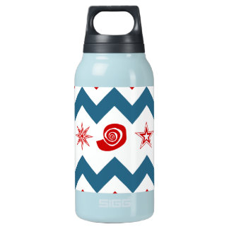 Bold Red White Blue Chevrons with Swirls and Stars Insulated Water Bottle