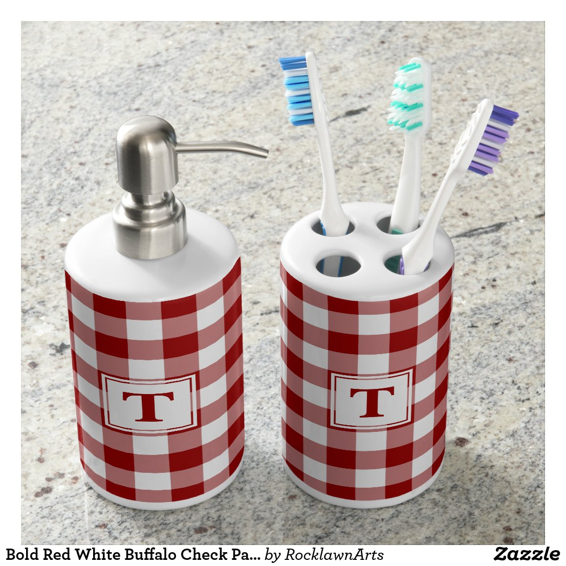 Bold Red White Buffalo Check Pattern with Monogram Bath Set
