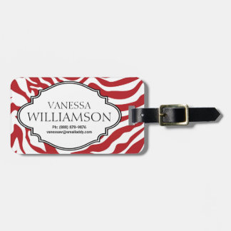 Bold RED Zebra Stripe Pattern Personalized Tag For Bags