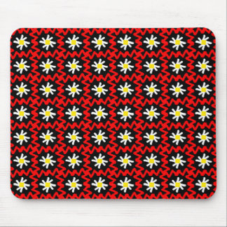 Bold Red Zigzags and Pretty Daisies Pattern Mouse Pad