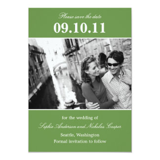 """Bold Reminder Save The Date Announcement (Green) 5"""" X 7"""" Invitation Card"""