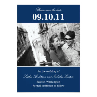 """Bold Reminder Save The Date Announcement (Navy) 5"""" X 7"""" Invitation Card"""