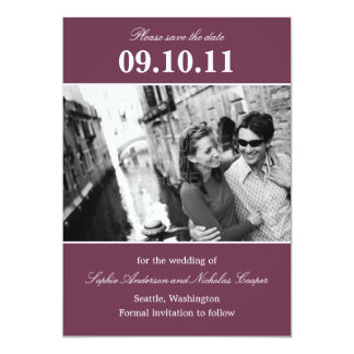 """Bold Reminder Save The Date Announcement (Plum) 5"""" X 7"""" Invitation Card"""