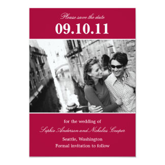 """Bold Reminder Save The Date Announcement (Red) 5"""" X 7"""" Invitation Card"""