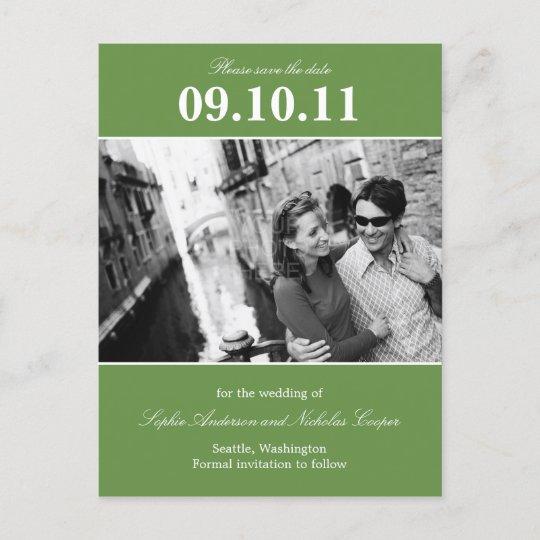 bold reminder save the date postcard green zazzle com